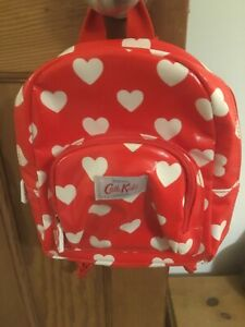 Kids Cath Kidston Heart Print Backpack -VGC-Red & White