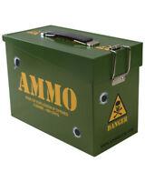 Kids Army Ammo Tin Metal Storage Box Hinged Flip Lids Boys Soldier Toy Lunchbox