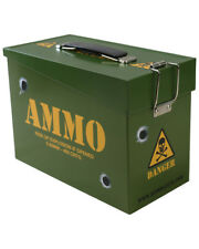 Kids Army Ammo Tin Metal Storage Box Hinged Flip Lids Boys Soldier Toy Lunchbox