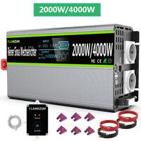 Spannungswandler 12V 230V Wechselrichter Reiner Sinus 2000W/4000W Mit LCD USB EU