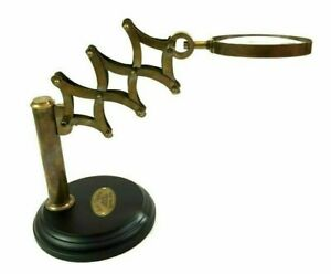 Nautical Antique Brass Chainner Magnifying Glass on Wooden Base Decor
