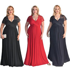Women's Plus Size Short Sleeves High Waist Evening Cocktail Gown Long Lace Dress