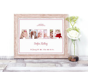 Personalised Girl NAME Photo Collage Word Art Print Christening Baby 1st Gift