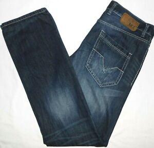 33x36 BKE Buckle 'Jake' Straight Leg Blue Jeans Mens Cotton Blend Denim 33L