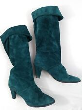 1980s Vintage Womens Green Joyce Suede Boots Size 7.5