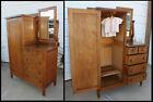 Antique Oak Chifferobe w Beveled Mirror, Wood Pulls, 5 Dovetailed Drawers & Key