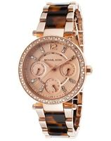 New Michael Kors Mini Parker Rose Gold Tortoise Chrono Womens Glitz Watch MK5841