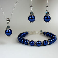 Midnight blue pearl crystal necklace chunky bracelet earrings wedding silver set
