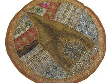 Khaki Round Chair Pillowcase Beaded Sari Decorative Circle Handmade Cushion 26in