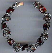 vintage decorativo Rosso Rubino Sfaccettato vetro & marcasite disegno floreale