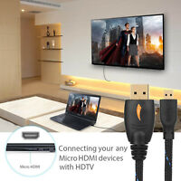 Micro HDMI to HDMI Cable M/M 3D 1.4 Adapter Monitor Camera Laptop Projector Cord