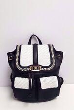 Rebecca Minkoff Love Leather Backpack (Black/White) MSRP: $415