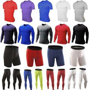 Mens Compression Baselayer Thermal Under Fitness Shirt Top+Sport Shorts/Pants