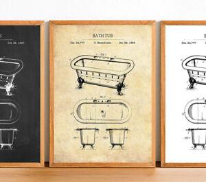 Vintage Bathroom Prints Bath Tub Posters Minimalistic Home Decor Wall Art