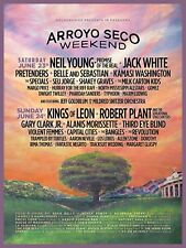 "NEIL YOUNG /JACK WHITE /ROBERT PLANT ""ARROYO SECO"" 2018 PASADENA CONCERT POSTER"