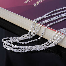 """Sterling Silver Plated Wave Chain Necklace Wholesale Lot of 5 18"""" Liquidation WW"""