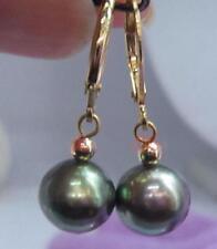 New 9-10mm AAA black green natural tahitian pearl Dangle earrings 14k gold