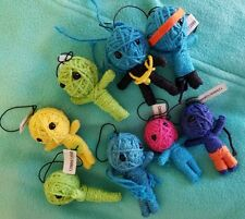 3 Random String Voodoo Dolls Small Keychain Backpack Collectible Spells NEW