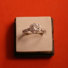 Engagement Wedding Ring 2.98Ct Solitaire Created Diamond Ring Micro Pave Setting