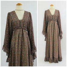 VTG 70s RARE Black Label GUNNE SAX Joseph Magnin Flutter Sleeve Maxi Dress S/M