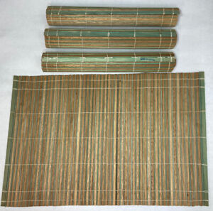 4 Vintage Japan Made Bamboo & Green Thread Retro Roll Up Table Dinner Placemats