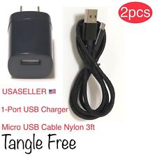 USB Wall Charger Adapter 1A + Micro USB Fast Charging Cable For Samsung Android.
