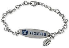 AUBURN UNIVERSITY TIGERS *  Stainless Steel ID Bracelet w/CZ Dangle NCAA Jewelry
