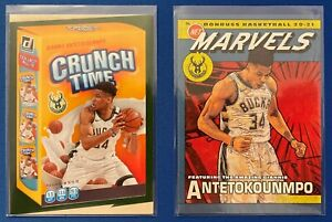 2020-21 Donruss Marvels (#14) Crunch Time (#18) Giannis Antetokounmpo Lot (2)