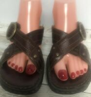 Women's BORN Brown Criss Cross Strap Buckle Accent Sandal Wedge Size 8  EUR 39