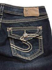 Silver Suki Surplus Capri Size 29 Dark Wash Distressed Flap Pocket EUC