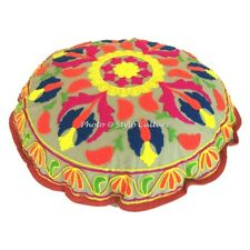 Home Decorative Suzani Floor Pillow Indian Embroidered Cotton Throw Cushion Pouf