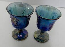 Indiana Carnival Glass Blue Iridescent Harvest Grape Goblet Wine Glass Lot of 2