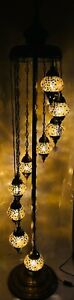 Gold/Brown Colour 9 Glass Turkish Moroccan Style Handmade Glass Floor Lamp