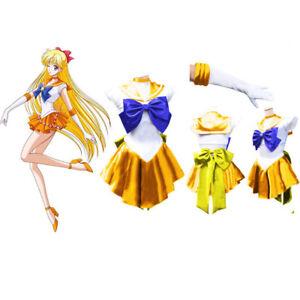 Sailor Moon Venus Golden Yellow Sailormoon Costume Cosplay Uniform Dress+Gloves