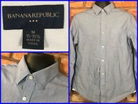 Banana Republic Blue Striped Btn Front Modern Dress Shirt For Work Mens Med 15