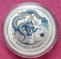 2012 AUSTRALIA LUNAR YEAR OF THE DRAGON 1 OZ SILVER COIN - BLUE/SILVER DRAGON -