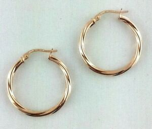 New 9ct Rose Gold Twisted Hoop Earrings