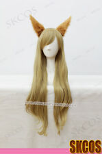 League of Legends Ahri Cosplay wig Gold Colour 80CM Curly + Cat ear accessories