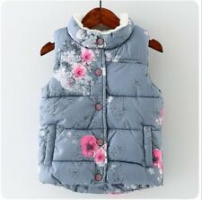 Casual Kids Boys Girls Cotton Vest Printed Floral Coat Fashion Girls Outwear Top