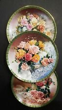 W S George Vieonne Morley collector plates lot 3 plate romantic roses Bradex set