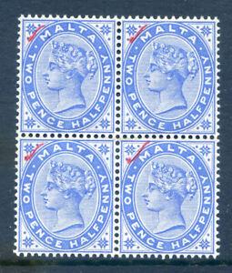 Malta 1885 Q. V.  2½d a nh mint block 4 with red tick top left  (2019/06/29#06)