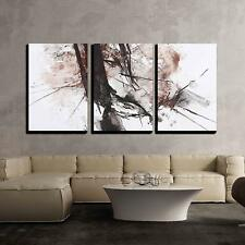 """Wall26 - Black and Red Abstract Brush Painting - CVS - 16""""x24""""x3 Panels"""