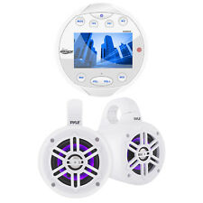 Lanzar Bluetooth Marine Media Receiver, Wakeboard LED Tower Speakers White