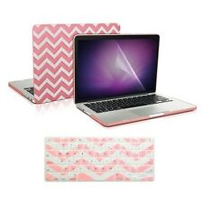 """Matte Chevron PINK Case + Keyboard Cover +LCD for Macbook Pro 15"""" Retina A1398"""