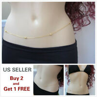 Women Waist Chain Belly Bikini Body Jewelry Rhinestone Back Chain Beach Style A