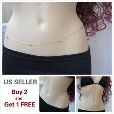 Women Waist Chain Belly Bikini Body Jewelry Rhinestone Back Chain Beach Style A