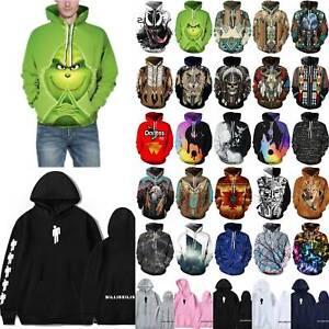 3D Skull Mens Womens Hoodie Hooded Sweatshirt Couple Pullover Jumper Tops UK