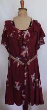 ESTELLE ~ Burgundy Bird Print Frilled Short Sleeve Dress w Woven Jute Belt 16