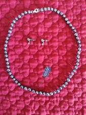"18"" Inch Genuine Freshwater Cultured Black Pearl Strand Necklace & Earrings- NIB"