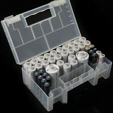 Clear Hard Plastic Case Holder Storage Box 15 x 9 x 5.5cm for AA AAA C Battery